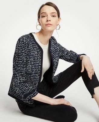 Ann Taylor Petite Tipped Tweed Jacket