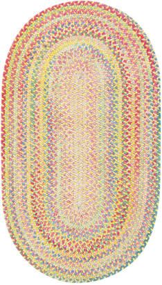 Capel Area Rug, Cutting Garden Oval Braid 0450-150 Buttercup 3' x 5'
