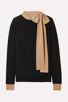 Marni Tie-neck Two-tone Wool Sweater - Black