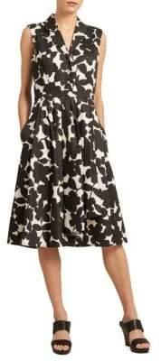 Donna Karan Floral-Print A-Line Dress