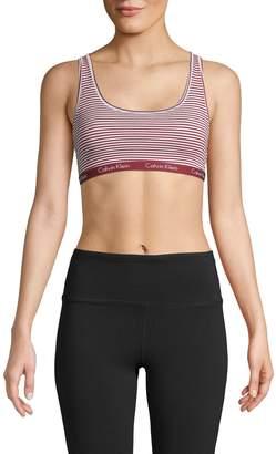 Calvin Klein Striped Cotton-Blend Sports Bra
