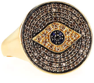 Sydney Evan Pave Diamond & Sapphire Evil Eye Ring