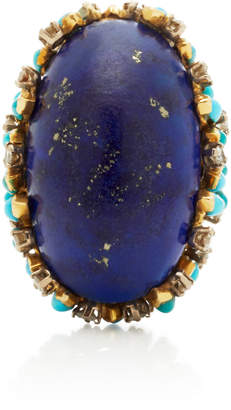 Lapis Mahnaz Collection One-Of-A-Kind 18K Gold Turquoise and Diamond Ring