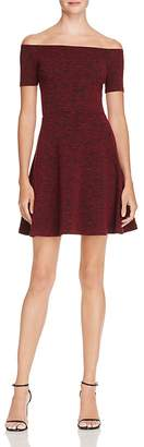 AQUA Off-the-Shoulder Knit Dress - 100% Exclusive $88 thestylecure.com