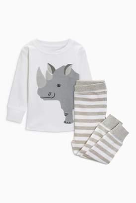 Next Boys Grey Rhino Snuggle Fit Pyjamas (9mths-6yrs)