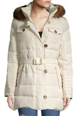 MICHAEL Michael Kors Belted Faux-Fur Hood Puffer Coat