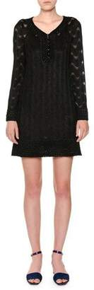 Missoni V-Neck Long-Sleeve Metallic-Knit Tunic Dress