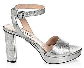 dd22500315e2 Miu Miu Women s Metallic Block Heel Platform Sandals