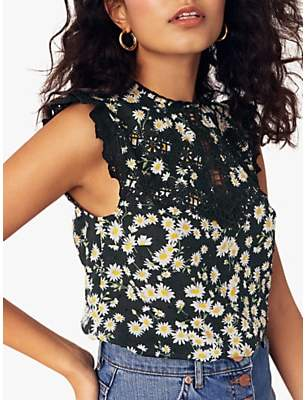 31878957a976 Oasis Daisy Cotton Shell Top, Black/Multi