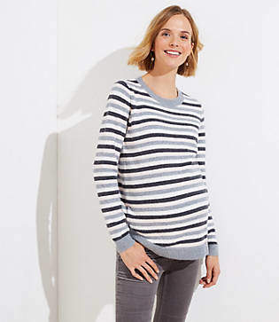 LOFT Maternity Striped Ribbed Sweater