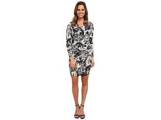 DKNYC Marble Sleek Jersey Ruched Dress Women's Dress