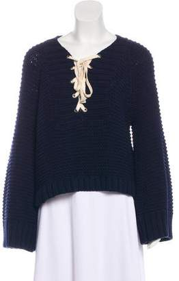 Ulla Johnson Lace-Up Knit Sweater