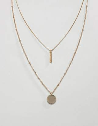 Asos Design DESIGN multirow necklace with sleek bar and disc pendants in gold