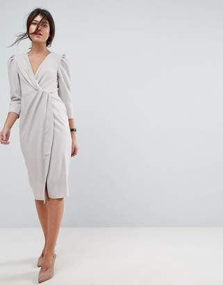 Asos Wrap Front Midi Dress