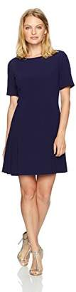 Tahari by Arthur S. Levine Women's Petite Size Short Sleeve Drop Waist Dress with Flounce Skirt