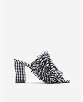 Express gingham heeled slide sandals