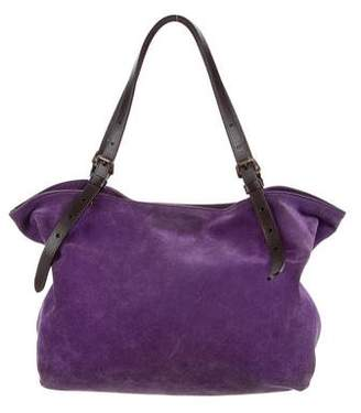 Tomas Maier Leather-Trimmed Suede Tote