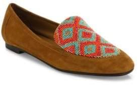 Aquazzura Masai Beaded Suede Loafers