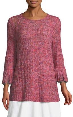 Nic+Zoe Bazaar Fringed-Cuffs Knit Top, Petite