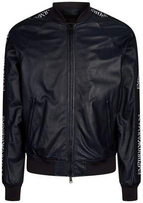 Emporio Armani Leather Logo Tape Bomber Jacket