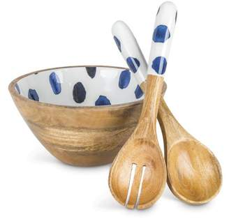 Lone Elm Studios Indigo Ink-Accented Serving Bowl With Matching Set Of 2 Spoons