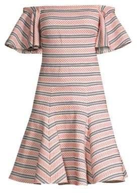 Caroline Constas Knit Off-Shoulder Fit-and-Flare Dress