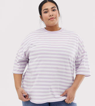 Asos DESIGN Curve t-shirt in super oversized fit in chunky stripe