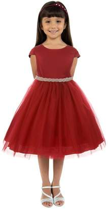 Kids Dream Sleeve Satin Dress W/ Tulle Red