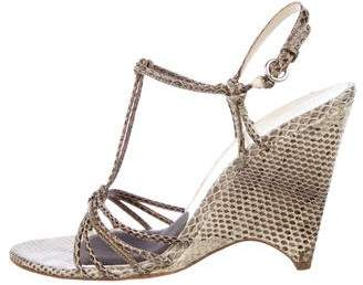 Miu Miu Snakeskin Wedge Sandals