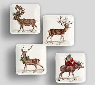 Pottery Barn Silly Stag Appetizer Plate, Set of 4