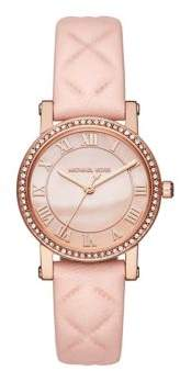 Michael Kors Petite Norie Leather Strap Watch