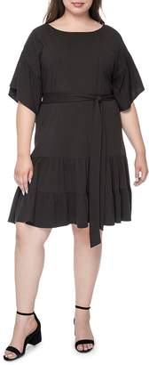 Bobeau B Collection by Curvy Angel Belted Flutter Dress