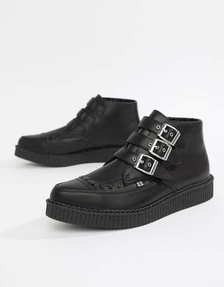 T.U.K. Vegan pointed creeper boots with multi buckle