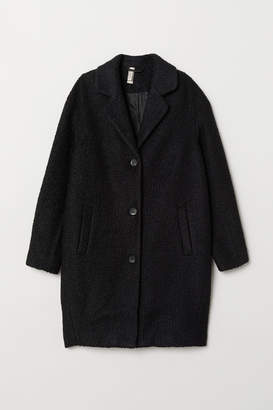 H&M Wool-blend Boucle Coat - Black