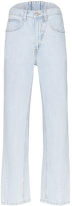 pushBUTTON straight-leg corset jeans