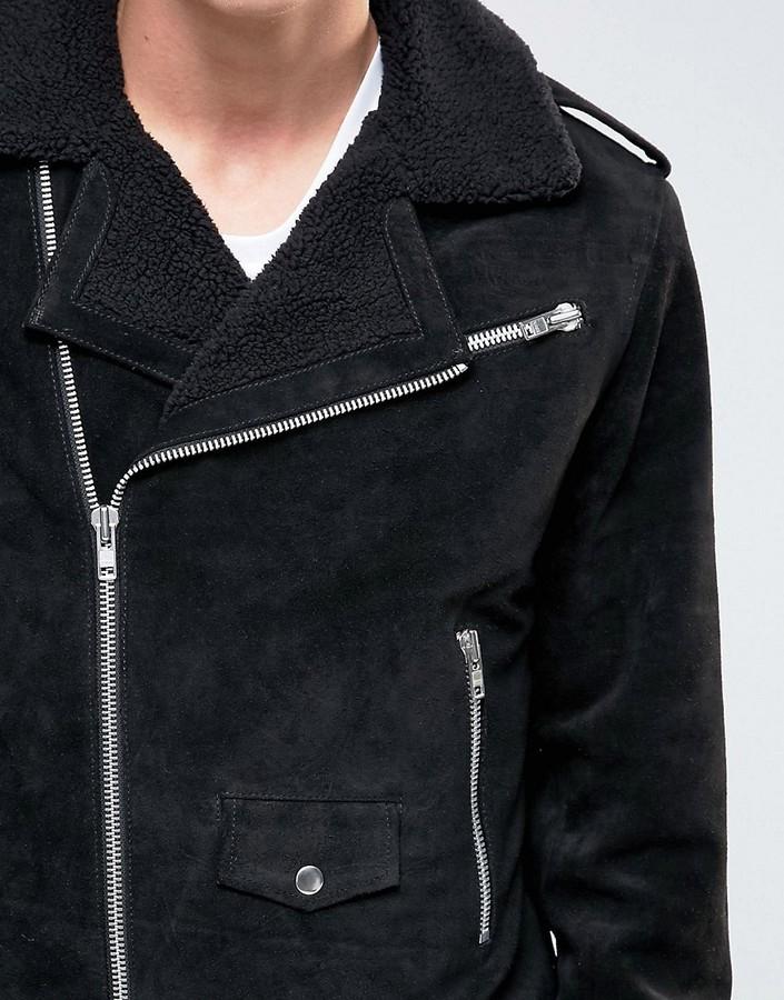 Black Dust Leather Biker Jacket With Fleece Collar 4