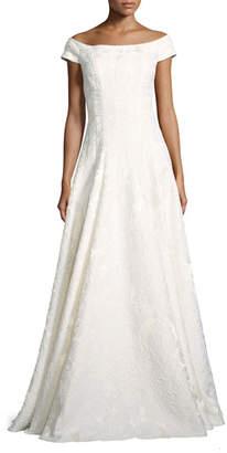 Carmen Marc Valvo Cap-Sleeve Floral Brocade Gown, Ivory