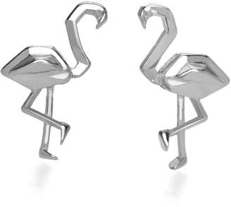 John Greed Origami Safari Flamingo Rhodium Plated Silver Stud Earrings