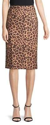 "Lord & Taylor Leopard Print 27"" Pencil Skirt"