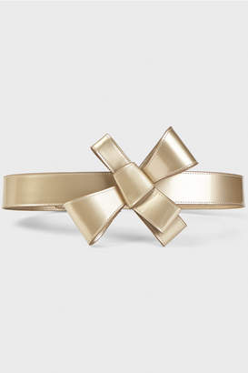 DELPOZO Metallic Gold Bow Belt