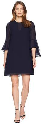 Vince Camuto Float with Bell Sleeves and V-Neck Illusion Women's Dress