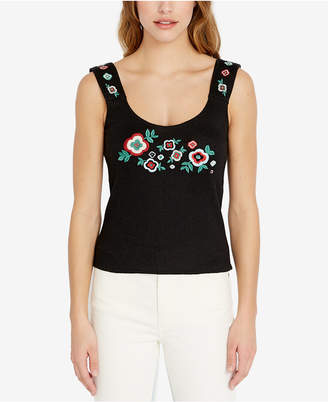 Buffalo David Bitton Ribbed-Knit Embroidered Tank