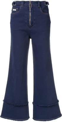 Miu Miu frayed details flared jeans