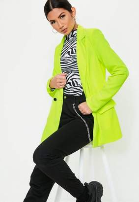 Missguided Neon Lime Tailored Long Blazer