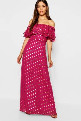boohoo Metallic Polka Dot Off The Shoulder Maxi Dress