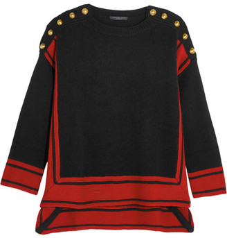 Alexander McQueen - Button-embellished Two-tone Cashmere Sweater - Black $1,395 thestylecure.com
