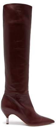 Gabriela Hearst Gonzalez Over The Knee Leather Boots - Womens - Burgundy