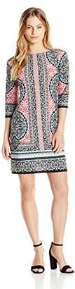 London Times Women's Morrocan Medallion Printed 3/4 Sleeve Jersey Shift Dress