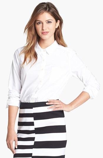 Halogen Roll Sleeve Cotton Shirt (Regular & Petite)