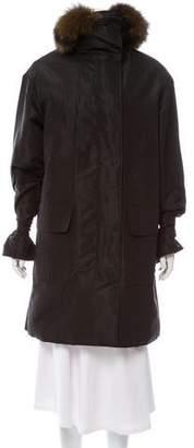 Prada Fur-Trimmed Knee-Length Coat